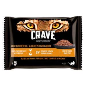 Crave Pouch für Katzen zum Sonderpreis! - Multipack Pastete mit Lachs & Huhn (4 x 85 g)