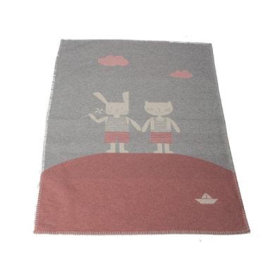 DAVID FUSSENEGGER Babydecke Katze & Hase filz 75 x 100 cm