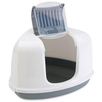 Savic Katzentoilette Nestor Corner - Starterset: Toilette hellgrau/weiß + 2 extra Filter + 12 Bag it up