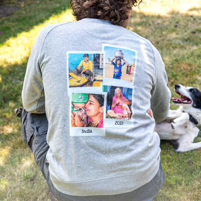 Sweatshirt mit Foto Grau meliert L