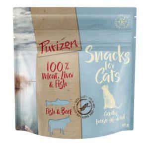 2 + 1 gratis! 3 x 40 g Purizon Snacks für Katzen - Fisch & Rind