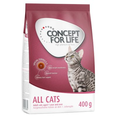 2 + 1 gratis! 3 x 400 g Concept for Life Katzentrockenfutter - All Cats