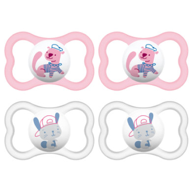 MAM Schnuller Air 6 - 16 Monate in rosa/ weiß Silikon 4 Stück - rosa/pink
