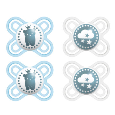 MAM Schnuller Perfect Start Silikon 0 - 2 Monate 4er - Set blau / beige