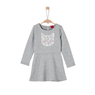 s.Oliver Girls Kleid grey melange - grau - Gr.122 - Mädchen