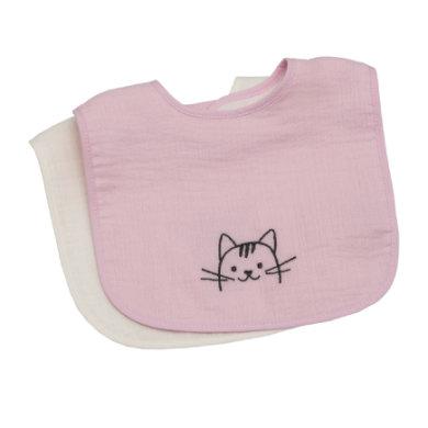 Be Be 's Collection Musselin Klettlätzchen 2er Pack Katze rosa