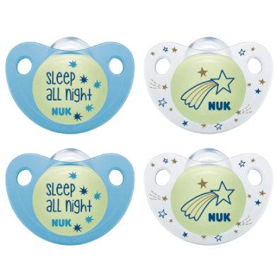 NUK Schnuller Trendline Night & Day Silikon blau / weiß Gr. 1 4 Stück ab der Geburt