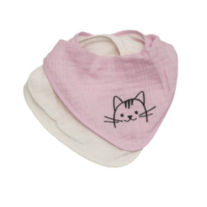 Be Be 's Collection Musselin Sabberlätzchen 2er pack Katze rosa