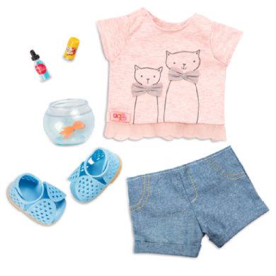 Our Generation - Outfit T-Shirt Katzenprint mit Goldfisch Glas