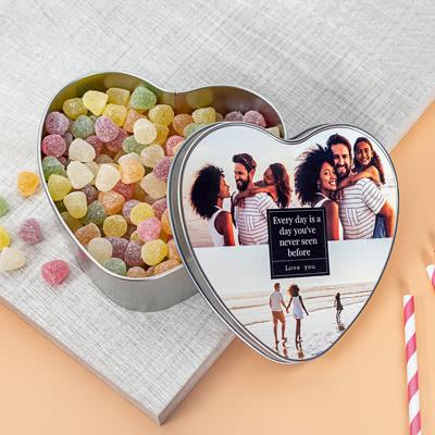 Blechdose herzförmig mit Foto inkl. Bonbons