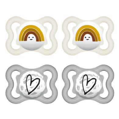 MAM Schnuller Supreme Silikon 0-6 Monate, 4 Stück Regenbogen/Herz in grau/beige