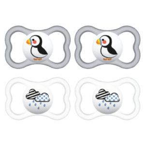 MAM Schnuller Supreme Silikon 6-16 Monate, 4 Stück Papageitaucher/Wolke in grau/transparent