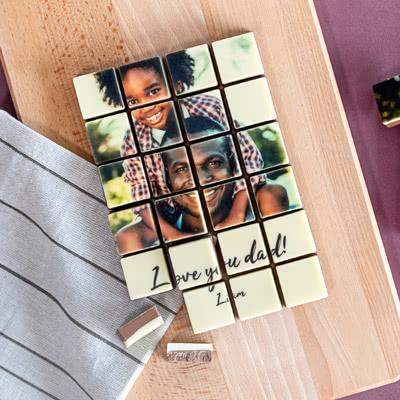 Schokoladenpuzzle mit Foto (16 Schoko-Stücke)