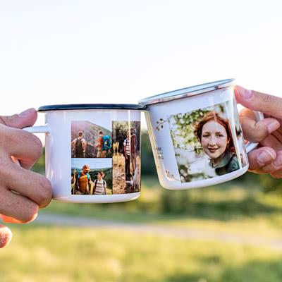 Emaille Tasse personalisiert mit Foto o. Text (Weiss-metallic. 350 ml)