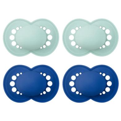 MAM Schnuller Original Elements Silikon, 6-16 Monate, 4 Stück in mint/blau